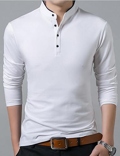 voordelige Heren T-shirts & tanktops-Heren T-shirt Effen Zwart / Lange mouw