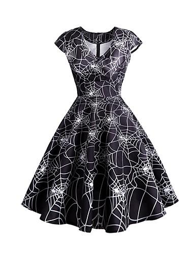 billige Kjoler-Dame Grunnleggende Elegant A-linje Skjede Swing Kjole - Blomstret Dyr, Trykt mønster Knelang Rose