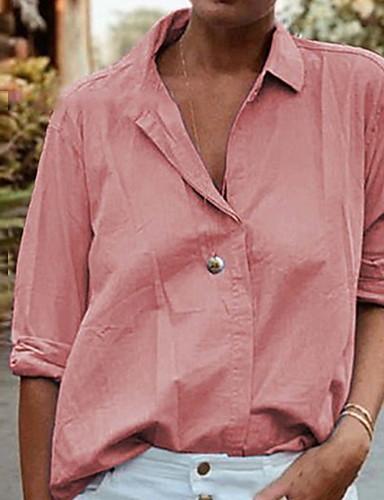 abordables Hauts pour Femme-Chemise Femme, Couleur Pleine Basique Rose Claire