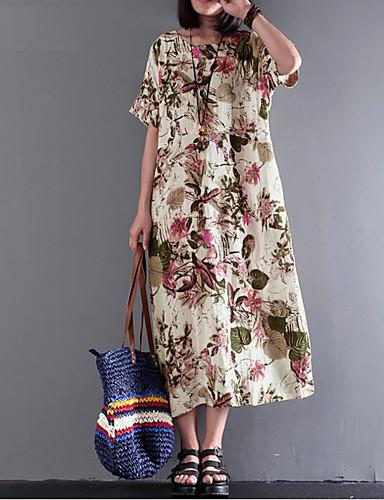 Kadın's Vintage Boho Kombinezon Elbise - Çiçekli, Desen Midi
