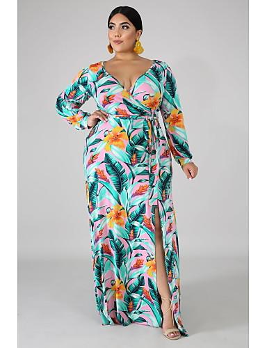 voordelige Maxi-jurken-Dames Street chic Elegant A-lijn Wijd uitlopend Jurk - Bloemen Geometrisch Kleurenblok, Veters Print Maxi Blauw & Wit