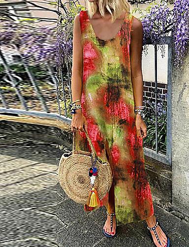 voordelige Maxi-jurken-Dames Schede Jurk - Regenboog Maxi
