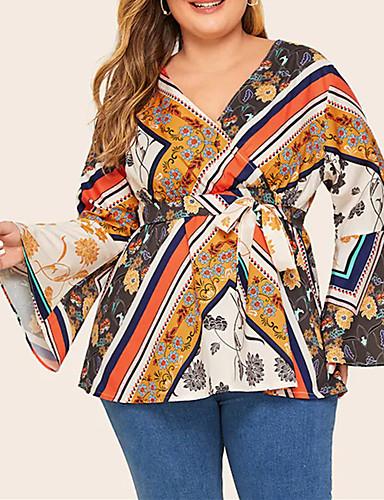 billige Dametopper-Skjorte Dame - Geometrisk / Tribal, Trykt mønster Vintage / Gatemote Gul