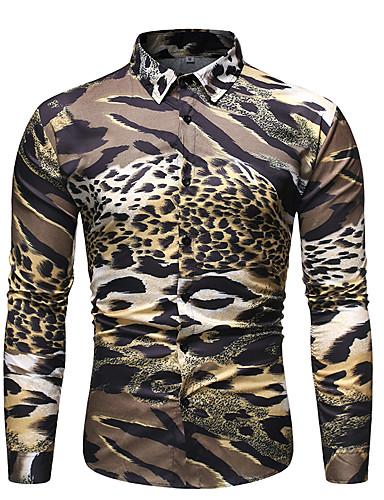 voordelige Herenoverhemden-Heren Print Overhemd Luipaard / Kleurenblok / dier Goud