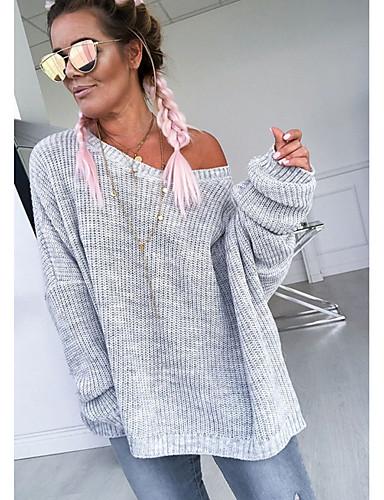 povoljno Ženske majice-Žene Jednobojni Dugih rukava Pullover, Okrugli izrez Obala / Blushing Pink / Sive boje S / M / L