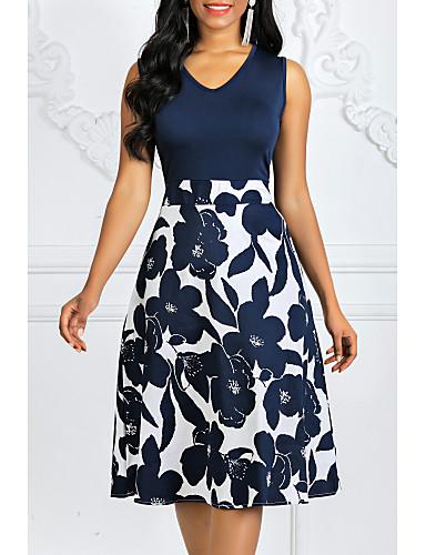 hesapli Kadın Elbiseleri-Kadın's Büyük Bedenler Vintage 1950'ler Pamuklu A Şekilli Elbise - Yuvarlak Noktalı Çiçekli, Desen V Yaka Midi