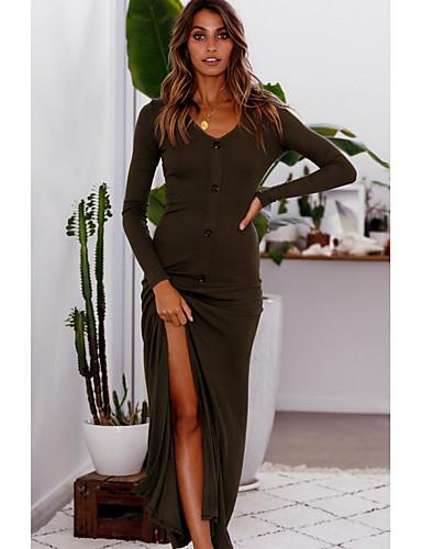 Kadın's Temel Kılıf Elbise - Solid Maksi
