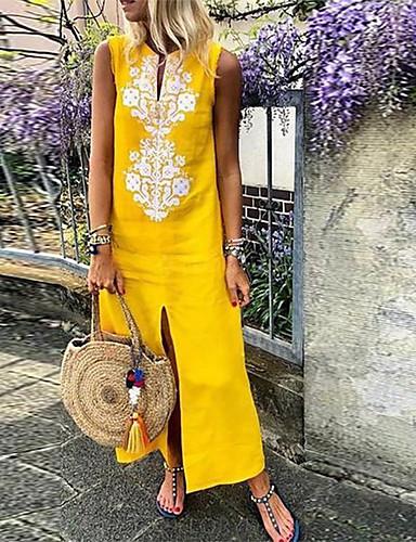 voordelige Maxi-jurken-Dames Standaard Ruimvallend Recht Jurk - Geometrisch Diepe V-hals Maxi