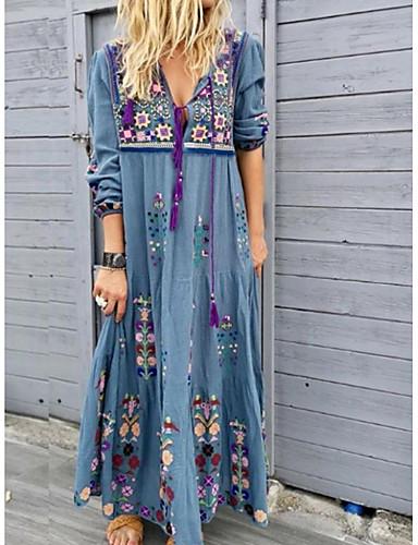 hesapli Kadın Elbiseleri-Kadın's Sokak Şıklığı Salaş Kombinezon Elbise - Çiçekli, Desen Derin V Maksi