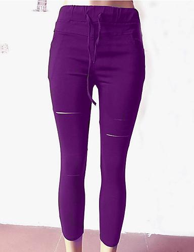ieftine Pantaloni de Damă-Pentru femei De Bază Zvelt Pantaloni - Mată Mov Verde Militar Gri Deschis L XL XXL