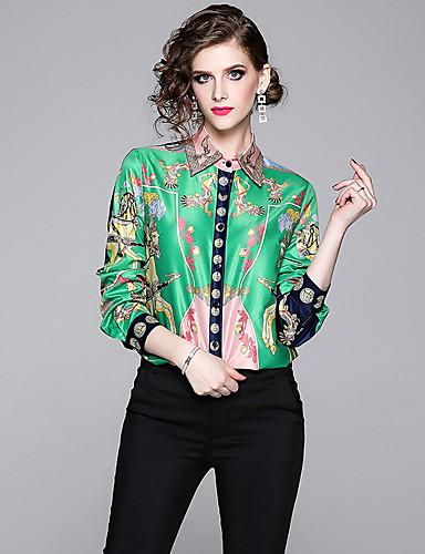 billige Dametopper-Skjorte Dame - Ruter, Trykt mønster Vintage / Elegant Grønn