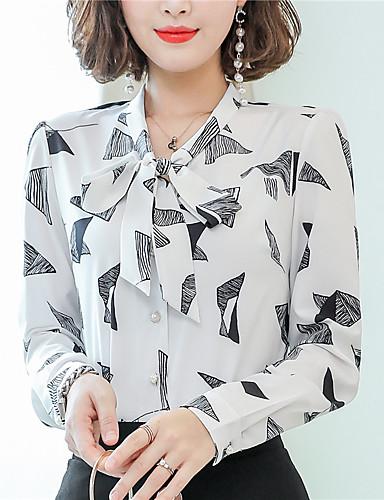 Kadın's Gömlek Fiyonklar, Kareli Çin Stili Beyaz