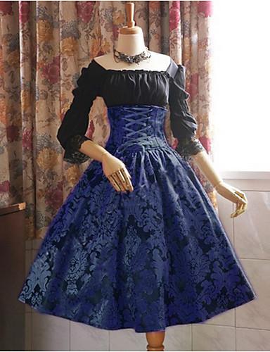 hesapli Vintage Kraliçesi-Kadın's Büyük Bedenler Çan Elbise - Batik Kayık Yaka Diz-boyu