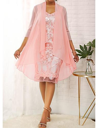hesapli Kadın Elbiseleri-Kadın's Zarif A Şekilli Elbise - Solid Diz-boyu