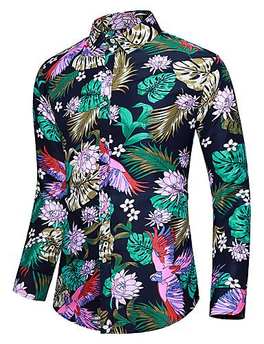 Erkek Gömlek Desen, Çiçekli Tropikal yaprak Gökküşağı