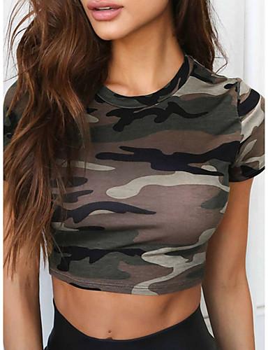 billige Topper til damer-T-skjorte Dame - Kamuflasje Militær Militærgrønn