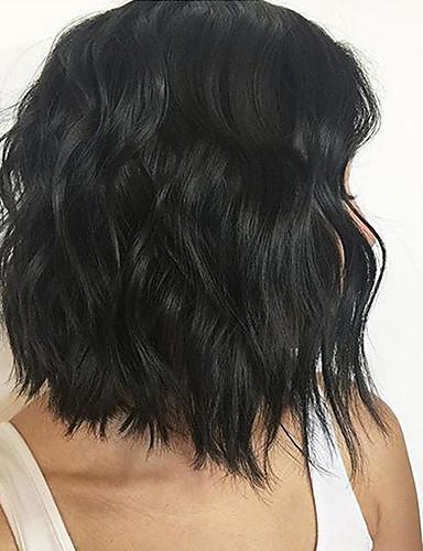 billige Blondeparykker med 250 % tetthet-Ekte hår Deep Part Lace Front Parykk Gratis del stil Indisk hår Naturlige bølger Svart Parykk 150% Hair Tetthet med baby hår Dame Medium størrelse Naturlig hårlinje Midtskill Dame Kort Medium Lengde
