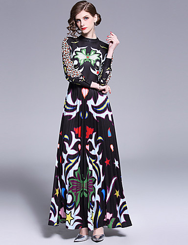billige Kjoler-Dame Bohem A-linje Kjole - Leopard, Trykt mønster Maksi Svart