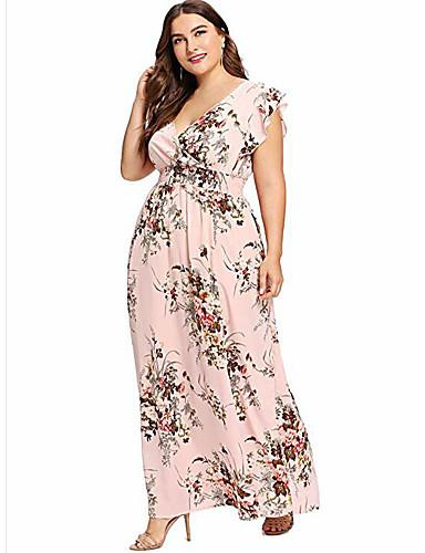 Kadın's Temel Çan Elbise - Çiçekli, Desen Maksi