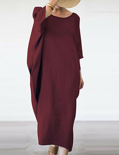 voordelige Maxi-jurken-Dames Boho Recht Jurk - Effen, Print Maxi