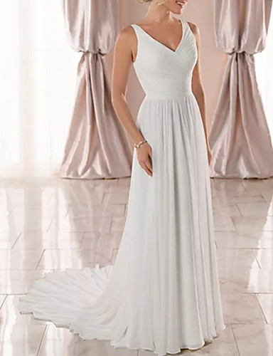 abordables Robes de Mariée 2019-Trapèze Col en V Traîne Tribunal Mousseline de soie Robes de mariée sur mesure avec Drapée par LAN TING Express