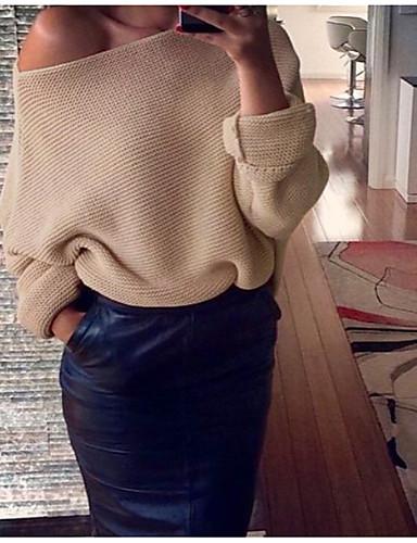 abordables Hauts pour Femmes-Femme Couleur Pleine Manches Longues Pullover, Une Epaule Vin / Blanche / Rose Claire S / M / L