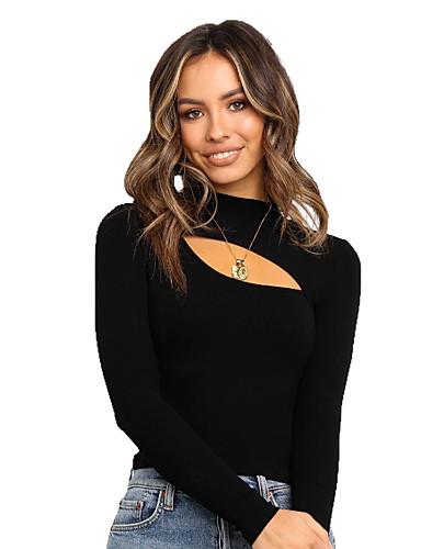 Kadın's Tişört Solid Siyah