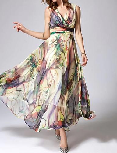povoljno Pretprodaja-Žene Elegantno Swing kroj Haljina Cvjetni print Maxi