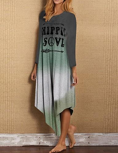 billige Kjoler-Dame Skiftet Kjole - Fargeblokk Asymmetrisk