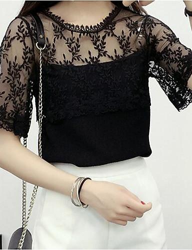 billige Topper til damer-T-skjorte Dame - Ensfarget, Netting / Lace Trim Grunnleggende / Gatemote Svart