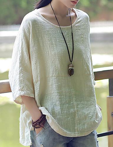 abordables Hauts pour Femme-Tee-shirt Femme, Couleur Pleine Vin