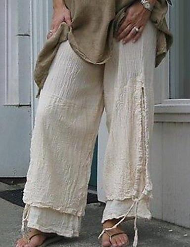 abordables Pantalons Femme-Femme Basique Chino Pantalon - Couleur Pleine Noir Gris Clair Kaki S M L