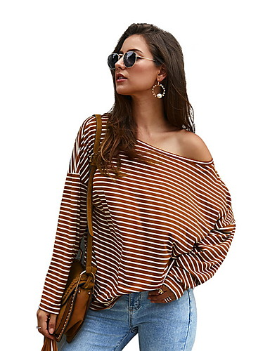 abordables Hauts pour Femmes-Tee-shirt Femme, Rayé Imprimé Noir