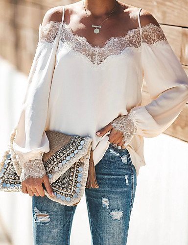 billige Dametopper-Skjorte Dame - Ensfarget, Blonde Gatemote Svart / Hvit Svart