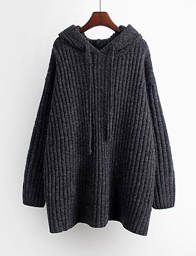 billige Dametopper-Dame Ensfarget Langermet Pullover, Med hette Høst / Vinter Kamel / Mørkegrå En Størrelse