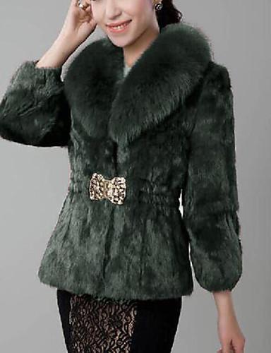 billige Dametopper-Dame Fest / Arbeid Gatemote / Sofistikert Vinter Normal Faux Fur Coat, Ensfarget Skjortekrage Langermet Fuskepels Lapper Svart / Vin / Hvit XS / S / M