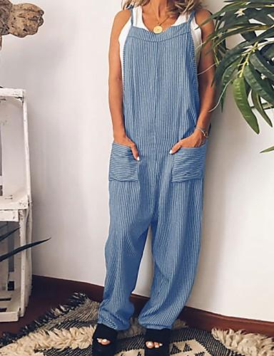 abordables Hauts pour Femmes-Femme Noir Bleu Rouge Combinaison-pantalon, Rayé S M L