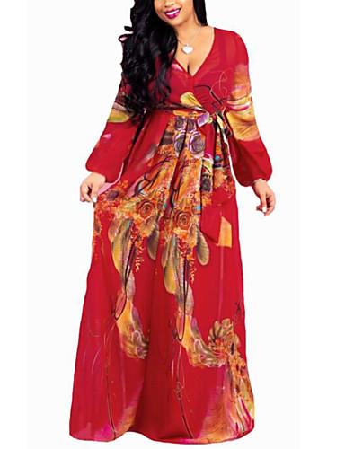 voordelige Grote maten jurken-Dames Boho Street chic Recht Wijd uitlopend Jurk - Bloemen Ruitjes Maxi