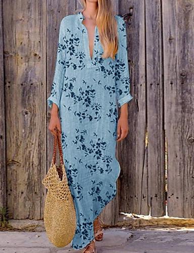 cheap Autumn New Outfits-Women's Sheath Dress - Floral Black Light Blue Blushing Pink S M L XL