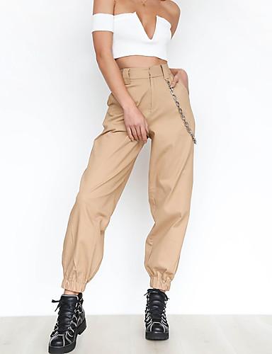 abordables Pantalons Femme-Femme Basique / Chic de Rue Pantalon cargo Pantalon - Couleur Pleine Taille haute Coton Noir Blanche Vert XS S M