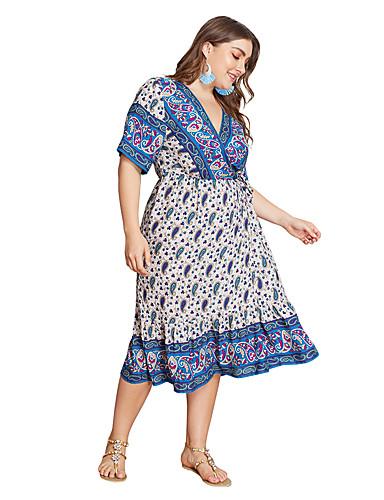 voordelige Grote maten jurken-Dames Elegant Wijd uitlopend Jurk - Geometrisch, Netstof Midi