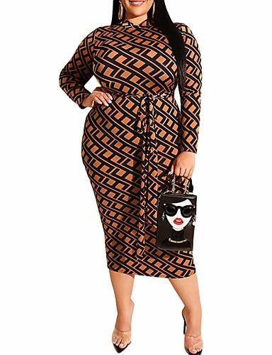 voordelige Grote maten jurken-Dames Street chic Punk & Gothic Bodycon Schede Jurk - Geometrisch, Patchwork Print Midi