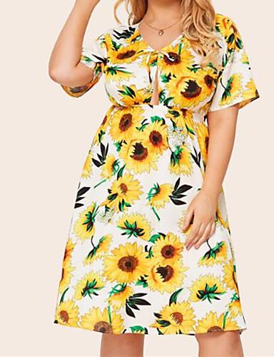 voordelige Grote maten jurken-Dames Boho Street chic Skater Jurk - Bloemen, Veters Tot de knie Tropisch blad Zonnebloem