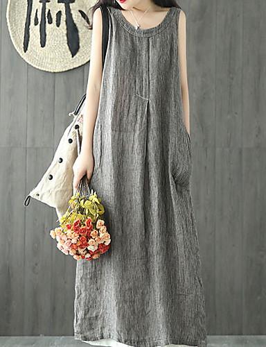 Kadın's Tişört Elbise - Solid Midi