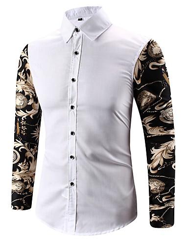 Erkek Gömlek Desen, Çiçekli Temel Beyaz