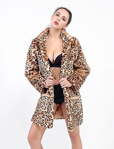 billige Ytterklær til damer-Dame Daglig / Ut på byen Høst vinter Maxi Faux Fur Coat, Leopard Rullekrage Langermet Fuskepels Brun S / M / L