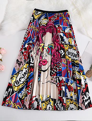 abordables Jupes-Femme Basique Trapèze Jupes - Bloc de Couleur Imprimé Bleu Rouge Taille unique