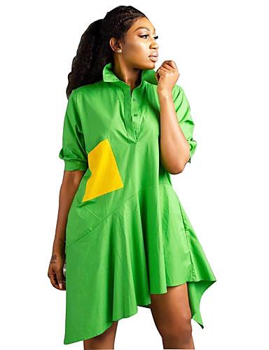 Kadın's Temel Gömlek Elbise - Zıt Renkli, Kırk Yama Diz-boyu