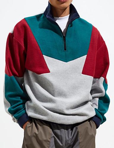 billige Hættetrøjer og sweatshirts til herrer-Herre Afslappet Rund hals Sweatshirt - Farveblok