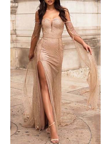 abordables Robes Femme-Femme Basique Mi-long Gaine Robe - Fendu Mosaïque Garniture en dentelle, Couleur Pleine Beige S M L Sans Manches